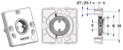 Spring-loaded square rosette 50x50x7 mm, screw head holes with nuts, hole -A- d 16 mm, neck -B- d 22 mm, for milled lever