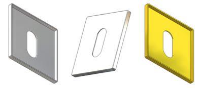 Квадратная ключевая накладка 50x50x3,5(0,8) мм, отверстие OB