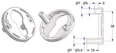 =Key rosette d 50x7 mm with tab, screw head hole and self-tapping screw hole with nuts 15 mm, PZ hole (yale)=