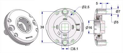 Spring-loaded bulged rosette d 47,5x11 mm, screw head holes with nuts, hole d 16 mm, without neck, square 8 mm