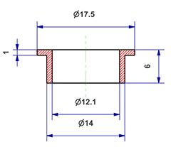 =Gasket d 12x14x6 mm with head=
