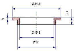 =Gasket d 15x17x3 mm with head=