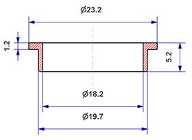 =Gasket d 18x20x5 mm with head=