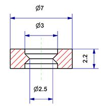 Plain gasket d 3x7x2 mm, for switch cover screws