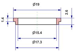 =Gasket d 15x17x2,6 mm with head=