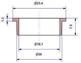 =Gasket d 18x20x8 mm with head=