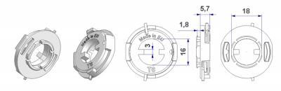 Mola T6 d32 mm direita-esquerda, com gancho de trinco, furo d 16 mm, para puxador moído