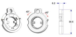 Right-left spring T3 d 33 mm, for milled lever