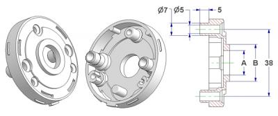 =Rosette d 52x10 mm, screw head holes with nuts, hole -A- d 16 mm, neck -B- d 21 mm, for spring=