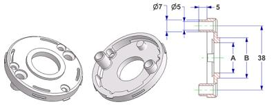 =Rosette d 50x7 mm with tab, screw head holes with nuts, hole -A- d 16 mm, without neck, for spring=