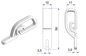Cord and chain tensioner Flex 12x56 mm, for wall or window mount