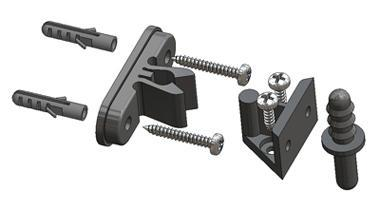 Door-stop clip with floor and wall junction with mounting screws and plugs