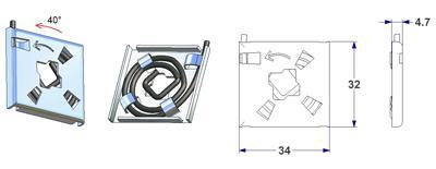 Rechts-links Feder 34x32x4,5 mm, Vierkant 8 mm