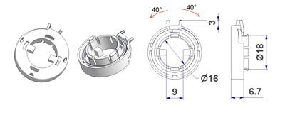 Spring-loaded click support T5 d 28x6,7 mm spring leg 5 mm, hole d 16 mm, for milled lever