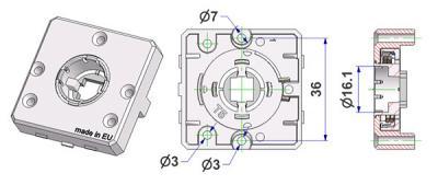 Rosetta quadra 45x45x10 mm, fori testa vite sporgenti, foro d 16 mm, senza collo, con molla destra-sinistra, per maniglia fresata