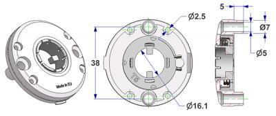 Rosace d 47,5x11 mm, bombée, trous de tête vis avec ergots d'appui, trou d 16 mm, sans col, avec ressort droite-gauche, pour poignée fraisée