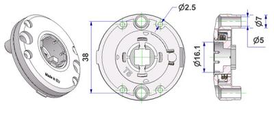 Spring-loaded bulged rosette d 47,5x11 mm, screw head holes with nuts, hole d 16 mm, without neck, for milled lever