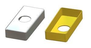 Rozeta prostokątna 30x65x12(0,8) mm, otwór d 16 mm