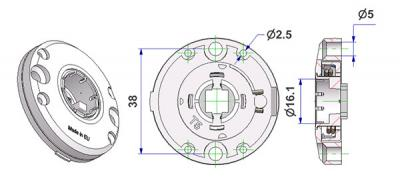 Roseta d 47,5x11 mm, convexa, agujeros afeitados para testa tornillo, agujero d 16 mm, sin cuello, con muelle derecha-izquierda, para manilla fresada