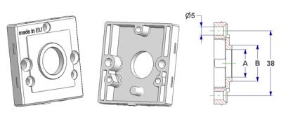 Square rose 50x50x10 mm, screw head holes without nuts, hole -A- d 16 mm, neck -B- d 21 mm, for spring