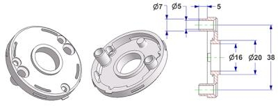 =Rosette d 50x7 mm with tab, screw head holes with nuts, hole d 16 mm, long neck d 20 mm=