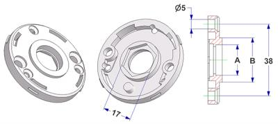 Rosette d 50x7 mm with tab, screw head holes without nuts, hole -A- d 15 mm, without neck, with hexagon 17 mm, for door knob