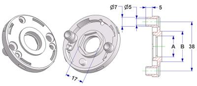 =Rosette d 50x7 mm with tab, screw head holes with nuts, hole -A- d 16 mm, neck -B- d 24 mm, with hexagon 17 mm, for door knob=