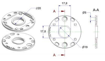 Rosette d 50x3,5 mm, screw head holes without nuts, hole d 16 mm, neck d 19 mm, without leaf springs