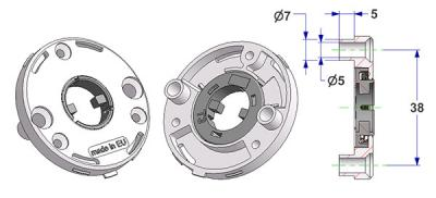 Spring-loaded rosette d 50x7 mm, screw head holes with nuts, hole -A- d 16 mm, without neck, for milled lever