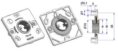Spring-loaded square rosette 50x50x5 mm, screw head holes with nuts, hole -A- d 16 mm, neck -B- d 21 mm, with RIGHT spring, for milled lever