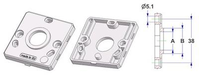 Square rose 50x50x7 mm, screw head holes without nuts, hole -A- d 16 mm, without neck, for spring