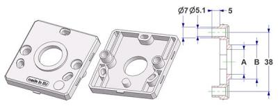 Square rose 50x50x7 mm, screw head holes with nuts, hole -A- d 16 mm, neck -B- d 22 mm, for spring