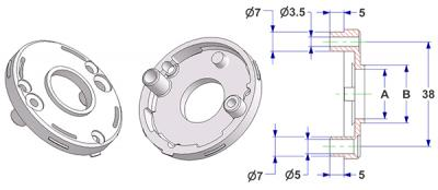 =Rosette d 50x7 mm with tab, screw head hole and self-tapping screw hole with nuts, hole -A- d 18 mm, neck -B- d 21 mm, for spring=