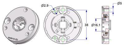 Rozeta d 50x10 mm, otwory łba śruby płaskie, otwór d 16 mm, bez szyjki, ze sprężyną prawe-lewe, do uchwytu frezowanego