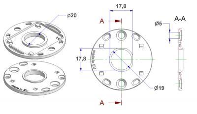 Arruela d 50x3,5 mm, furos de cabeça de parafuso rentes, furo d 16 mm, gola d 19 mm, sem bestas