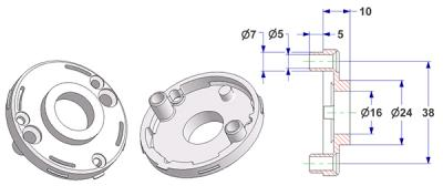 =Rosette d 50x7 mm with tab, screw head holes with nuts, hole d 16 mm, neck d 24 mm height 10 mm=