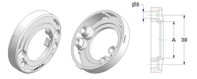 =Rosette d 52x10 mm, screw holes without nuts, hole -A- d 28 mm, without neck, for spring=