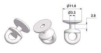 Corrediça arredondada rotativa G2, núcleo d 3,3 mm, cabeça d 12 mm, para trilho -U-