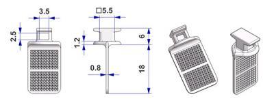 Eindrehgleiter mit Annähfahne TWIST, Kern q. 5,5 mm, für U-Schiene