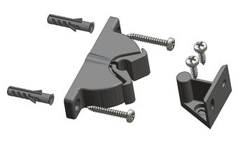 Door-stop clip PIRANHA with floor and wall junction without mounting screws and plugs