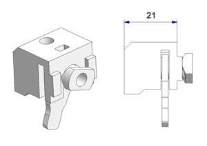 Wand-Deckenträger 21 mm mit Verriegelung, für Aluminium -U- Schienen, Typ -B-