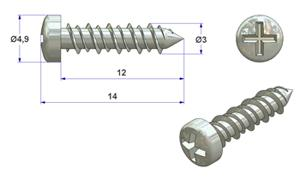 Self-tapping screw 3x12 mm