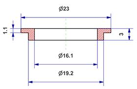 =Gasket d 16x20x3 mm with head=