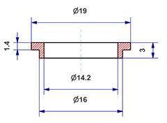 =Gasket d 14x16x3 mm with head=