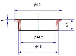 =Gasket d 14x16x4 mm with head=