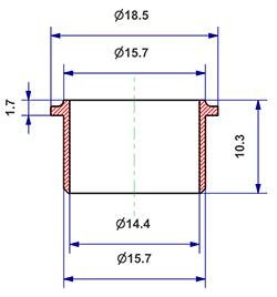 Gasket d 14x16x11 mm with head