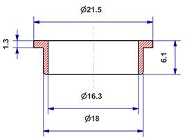 =Gasket d 16x18x6 mm with head=
