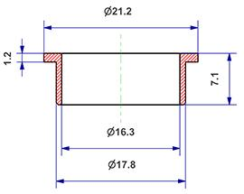 =Gasket d 16x18x7 mm with head=