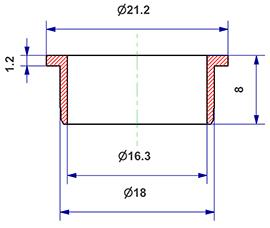 =Gasket d 16x18x8 mm with head=