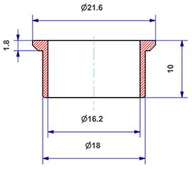 =Gasket d 16x18x10 mm with head=